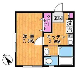 神奈川県川崎市麻生区細山1丁目の賃貸アパートの間取り