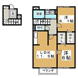 ディアコートA[2階]の間取り