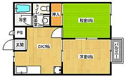 京都府京都市北区西賀茂中川上町の賃貸アパートの間取り