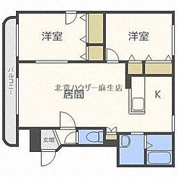 ヨシア花川 2階2LDKの間取り
