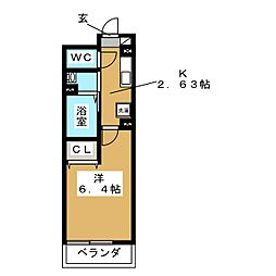 仮称 D-room金沢八景プロジェクト 3階1Kの間取り