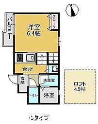福岡市地下鉄空港線 室見駅 徒歩9分の賃貸アパート 2階1SKの間取り