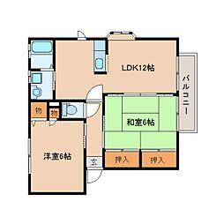 近鉄吉野線 壺阪山駅 徒歩10分の賃貸アパート 1階2LDKの間取り