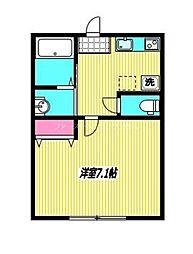 JR中央本線 国分寺駅 徒歩10分の賃貸アパート 2階1Kの間取り