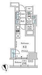 東京メトロ日比谷線 神谷町駅 徒歩8分の賃貸マンション 5階ワンルームの間取り