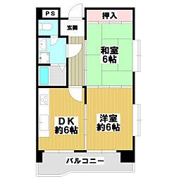 五百石マンション[5階]の間取り