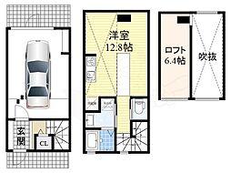 北大阪急行電鉄 緑地公園駅 徒歩12分の賃貸アパート 1階ワンルームの間取り
