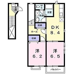 La.アルモニーB[2階]の間取り