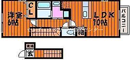 JR山陽本線 高島駅 徒歩15分の賃貸アパート 2階1LDKの間取り