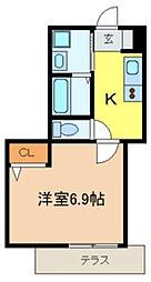 千葉県市川市新田2丁目の賃貸アパートの間取り