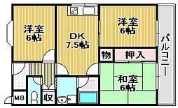 大阪府高石市取石3丁目の賃貸マンションの間取り