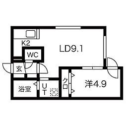ALPHA南円山 3階1LDKの間取り