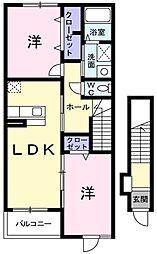 西武池袋線 東久留米駅 徒歩19分の賃貸アパート 2階2LDKの間取り