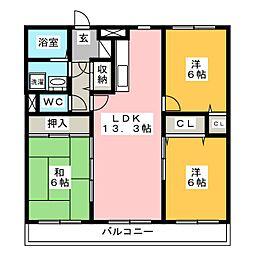 シャトレ参番館[3階]の間取り