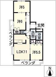 エスト味美マンション 北館[4階]の間取り