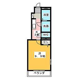 愛知県名古屋市港区当知4丁目の賃貸アパートの間取り