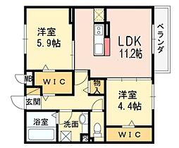大阪府八尾市山本町南2丁目の賃貸アパートの間取り