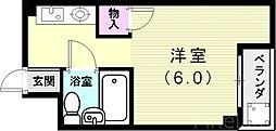山陽電鉄本線 霞ヶ丘駅 徒歩30分の賃貸マンション 3階ワンルームの間取り