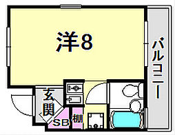 パレ・ラフィネ甲子園口[1階]の間取り