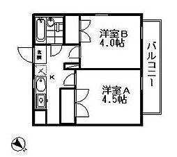 リバティ多摩川 bt[301kk号室]の間取り