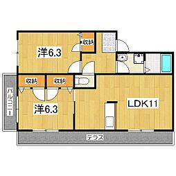 京都府京都市山科区勧修寺西金ケ崎の賃貸アパートの間取り