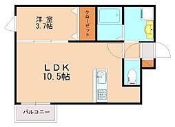 西鉄天神大牟田線 高宮駅 徒歩13分の賃貸マンション 3階1LDKの間取り