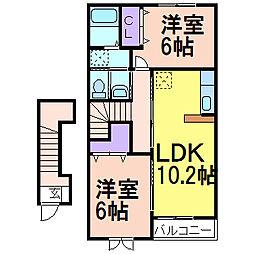 栃木県鹿沼市万町の賃貸アパートの間取り