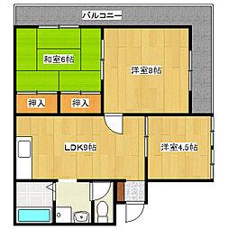 兵庫県姫路市広畑区西夢前台8丁目の賃貸マンションの間取り