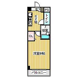 愛知県名古屋市中村区松原町1丁目の賃貸マンションの間取り