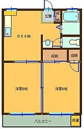 丸重マンション[2階]の間取り