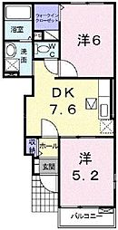 JR津山線 玉柏駅 徒歩24分の賃貸アパート 1階2DKの間取り