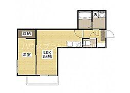 広島電鉄宮島線 草津駅 徒歩6分の賃貸アパート 3階1LDKの間取り