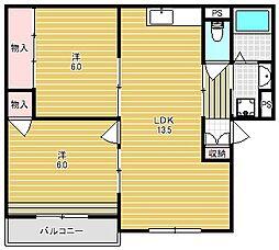 大阪府高槻市氷室町2丁目の賃貸マンションの間取り