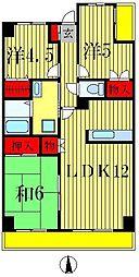 グランディス新八柱[3階]の間取り