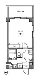 都営浅草線 大門駅 徒歩14分の賃貸マンション 7階1Kの間取り