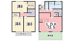 パストラル田寺B[6号室]の間取り