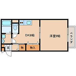 近鉄天理線 天理駅 徒歩15分の賃貸アパート 1階1DKの間取り