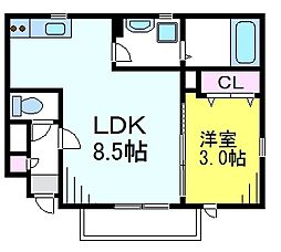 JR中央線 吉祥寺駅 徒歩12分の賃貸アパート 1階1LDKの間取り