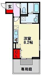 仮)D-room清納 2階ワンルームの間取り