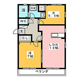 ウッドハウス村上 C棟[2階]の間取り