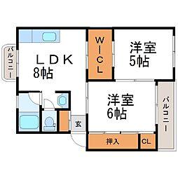 長田ハイツ[2階]の間取り