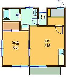 スカイハイツIII[2B号室]の間取り