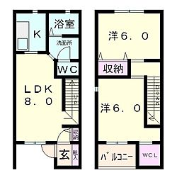 滋賀県近江八幡市上田町の賃貸アパートの間取り