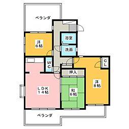 愛知県名古屋市名東区上菅2丁目の賃貸マンションの間取り