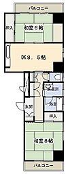 富貴ビル 東鷲宮駅徒歩2分・使いやすい2DK[5階]の間取り