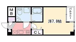 阪神本線 甲子園駅 徒歩5分の賃貸マンション 1階1Kの間取り