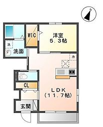 袖ケ浦市奈良輪2621番地新築アパート[103号室]の間取り