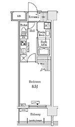 新交通ゆりかもめ 新豊洲駅 徒歩22分の賃貸マンション 4階1Kの間取り