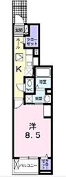 ヴェルテス六番館 1階1Kの間取り