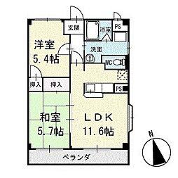 キングハクバA棟 2階[201号室]の間取り